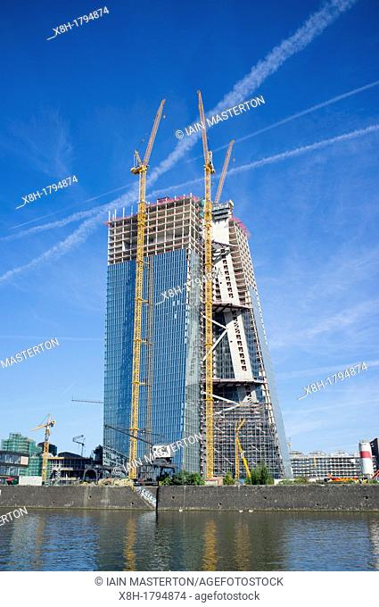 New headquarters for European Central Bank , ECB, under construction in Frankfurt Germany, Architect Coop Himmelblau