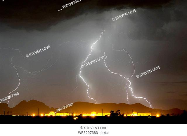 Nuclear Lightning, a lightning storm striking near a nuclear power plant in Wintersburg during the 2015 Monsoon Season, Arizona, United States of America