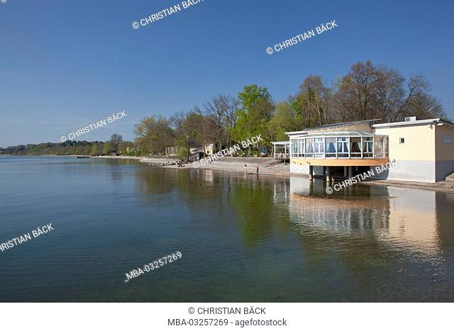 Café of Chieming in Chiemsee, Chiemgau, Upper Bavaria, Bavaria, South Germany, Germany
