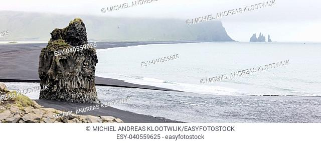 Big rock on the black beach near Vik, Iceland