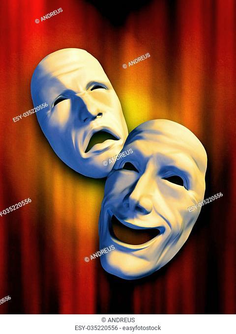 Sad and happy masks on a warm background. Digital illustration