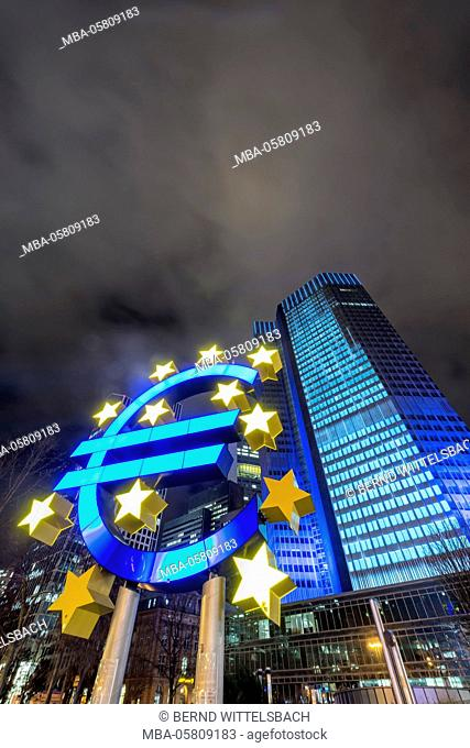 Frankfurt am Main, Hessia, Germany, Europe, symbol of the European Union in front of Euro Tower