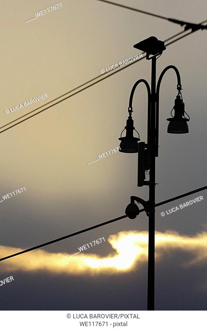 Street lamp and tram cables - Milan, Italy