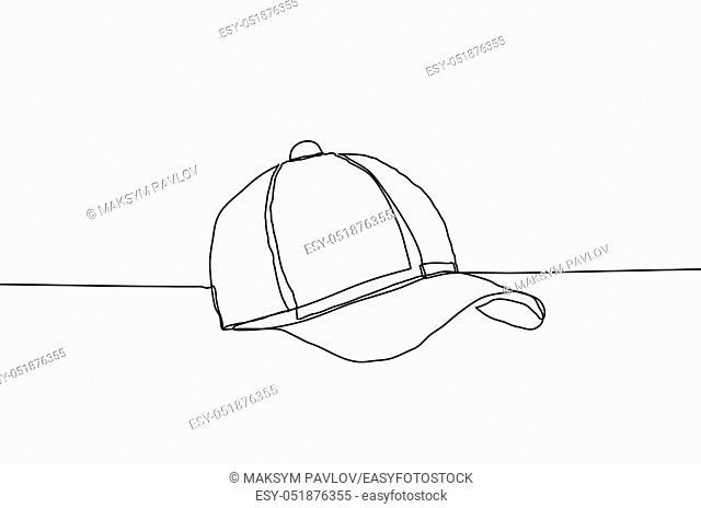 Baseball cap vector illustration on a white background. Continuous line drawing design style