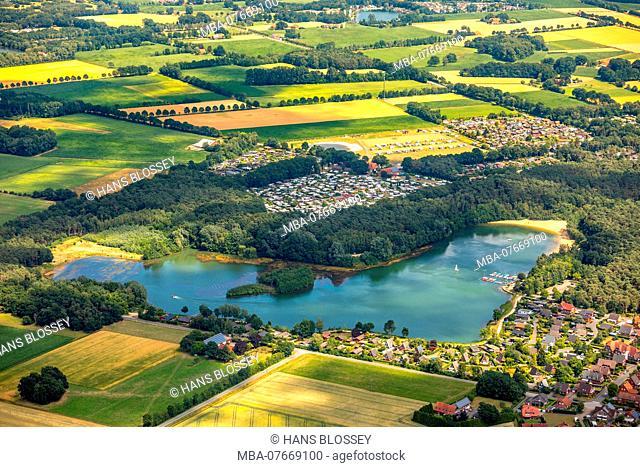 Aerial view, overview Feldmarksee, Vennstrasse, Sassenberg Fewo, Camping Münsterland Eichendorf, Sassenberg, Münsterland, North Rhine-Westphalia, Germany