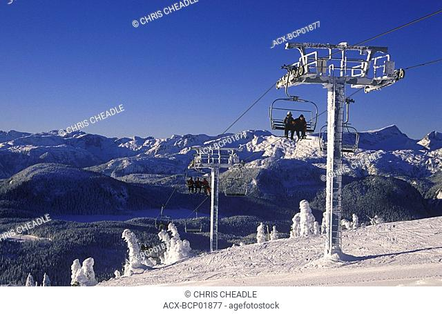 Mt  Washington Ski Resort, Mt  Albert Edward and Strathcona Park beyond, Vancouver Island, British Columbia, Canada