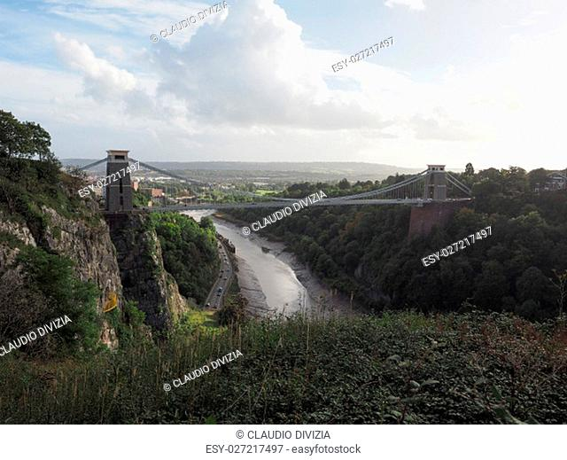 Clifton Suspension Bridge spanning the Avon Gorge and River Avon designed by Brunel and completed in 1864 in Bristol, UK