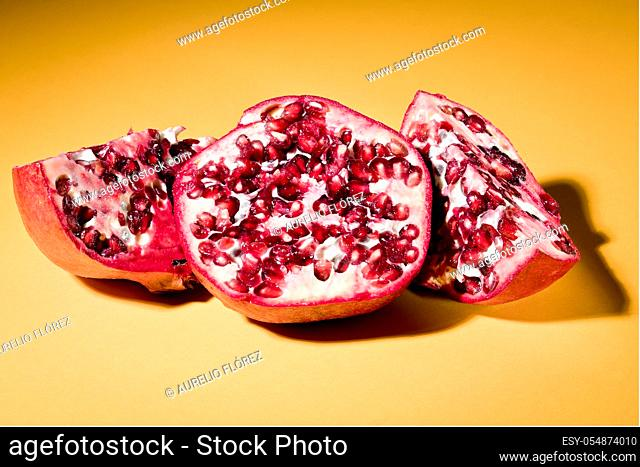The pomegranate (Punica granatum) is a small deciduous fruit tree in the family Lythraceae, whose fruit is the pomegranate