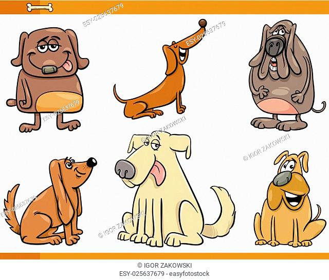 Cartoon Illustration of Dogs Pet Characters Set