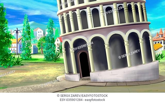 Digital painting of the entrance to the Leaning Tower of Pisa - one of the wonders of the world