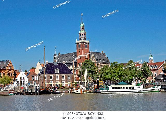 town hall and harbour, Germany, Lower Saxony, East Frisia, Leer