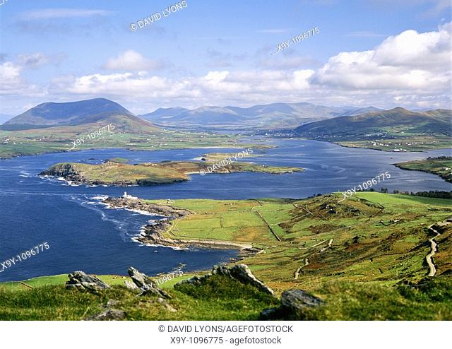 View east from Valencia island over Beginish Island toward village of Cahirsiveen on Iveragh Peninsula, County Kerry, Ireland