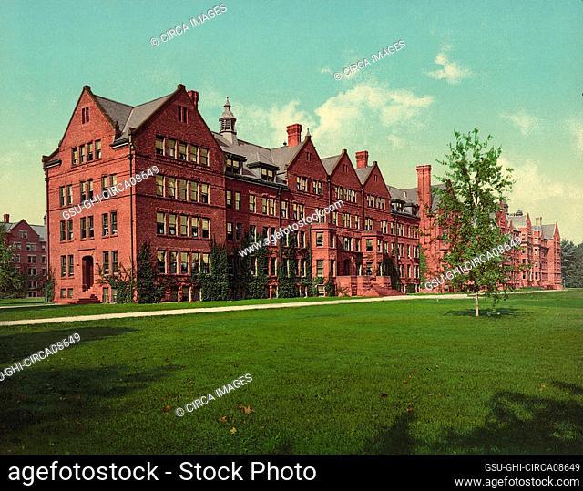 The Dormitories, Vassar College, Poughkeepsie, New York, USA, Detroit Publishing Company, 1904