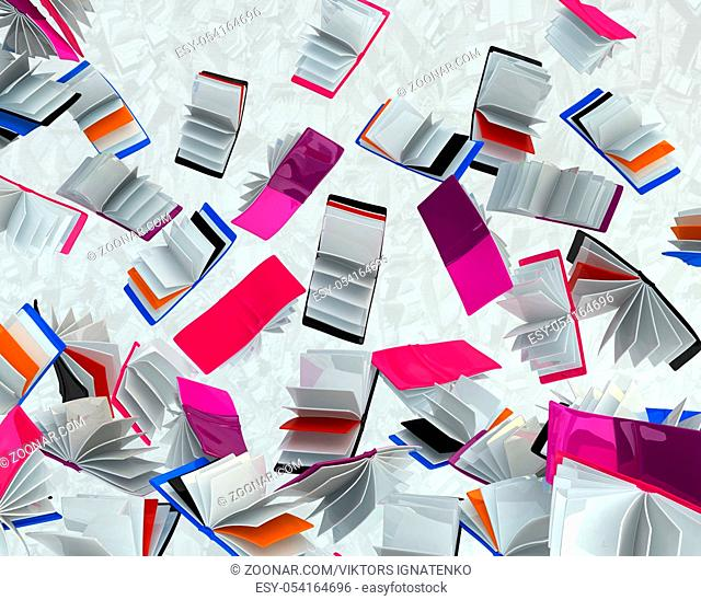Falling book abstract background 3d rendering, horizontal