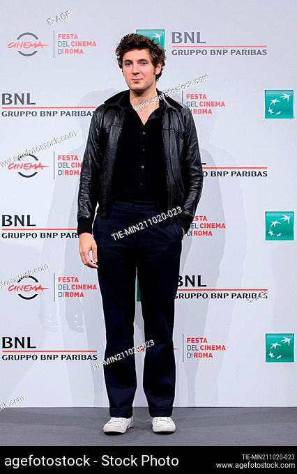 """Vincent Lacoste attend the photocall of the movie """"""""De Nos Freres Blesses"""""""" during the 15th Rome Film Festival on October 21, 2020 in Rome, Italy"""