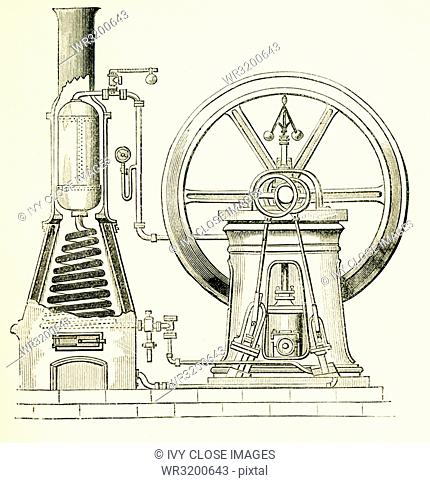 This illustration dates to the 1870s and shows a steam generator - here an arrangement for quickly generationg and superheating steam