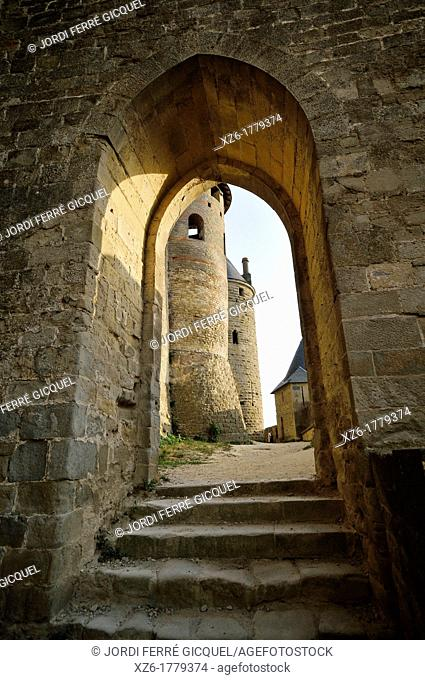Medieval Walls of Carcassonne, Aude, Languedoc-Roussillon, France, Europe
