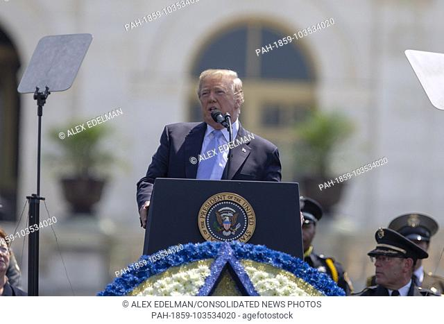 United States President Donald J. Trump delivers remarks during the the 37th Annual National Peace Officers' Memorial Service on the West Front of the United...