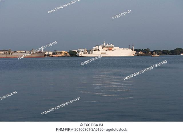 Cruise ship docked at a harbor, Kochi, Kerala, India