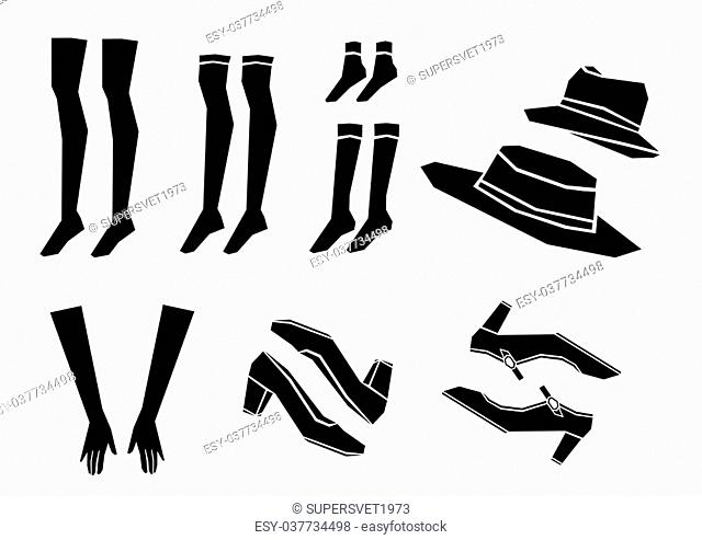shoes, socks, hat and gloves vector