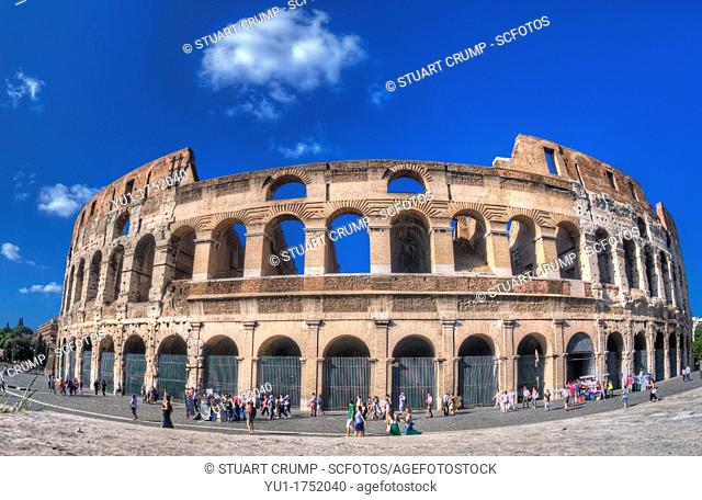 HDR Fisheye of The exterior of the Colosseum, Rome, Italy, Europe