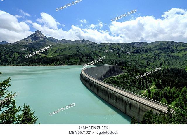 Austria, Vorarlberg, mountains, mountain, hiking, vacation, rest, skiing area, summer, Kopssee, dam wall, curved
