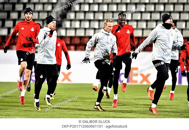 Lokomotiv players during a training session prior to the 6th round, group F, European League soccer match FC Fastav Zlin vs FC Lokomotiv Moscow in Olomouc