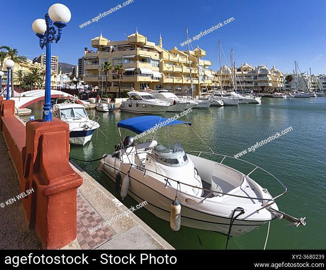 Leisure craft in Benalmadena Marina. Puerto Deportivo. Luxury property. Benalmadena Costa, Costa del Sol, Malaga Province, Andalusia, southern Spain
