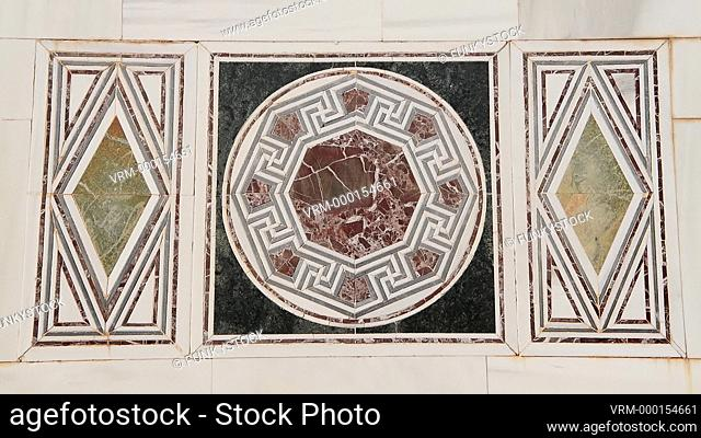 Pan close up across the 2nd century AD Roman geometric mosaic floor of the Synagogue of Sardis, Sardis archaeological site, Hermus valley, Turkey