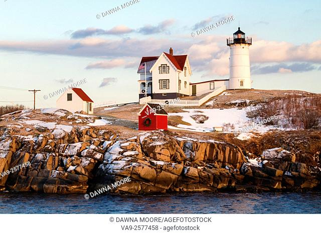 Late afternoon light at Cape Neddick Lighthouse also known as Nubble Light in York, Maine