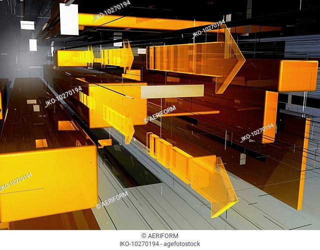 Abstract orange and yellow geometric arrow pattern