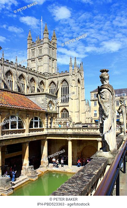 England Avon Bath The Roman baths and Bath Abbey Peter Baker
