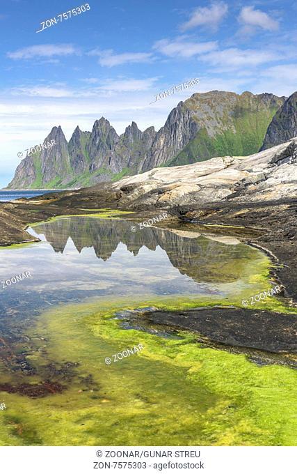 Okshornan, Senja, Troms Fylke, Norwegen, Juli 2015
