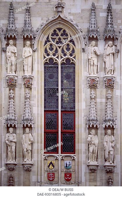 City Hall in Brabantine Gothic style, Burg Square, Bruges. Detail. Belgium