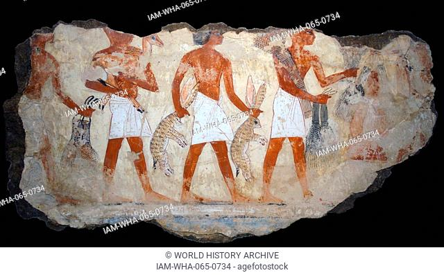 Fresco from the tomb of Nebamun, Fragment of a polychrome tomb-painting representing men carrying grain, another a gazelle or antelope