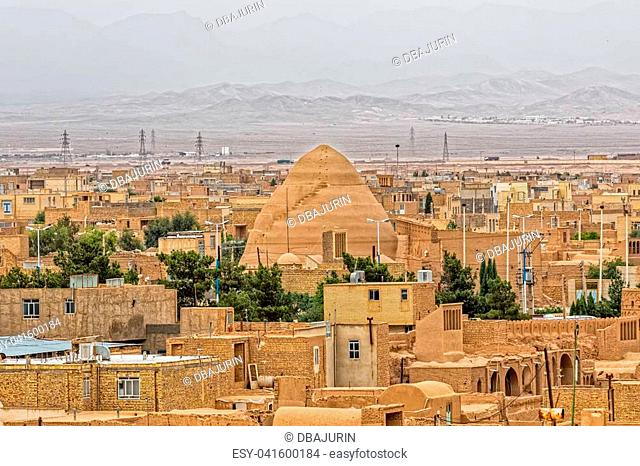 Panoramic aerial view of the Meybod Iran, sprawling mud-brick town that is at least 1800 years old
