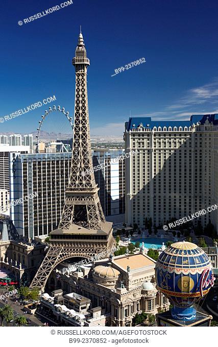 Hotel Casinos Bellagio Paris Paris The Strip Las Vegas Skyline Nevada Usa