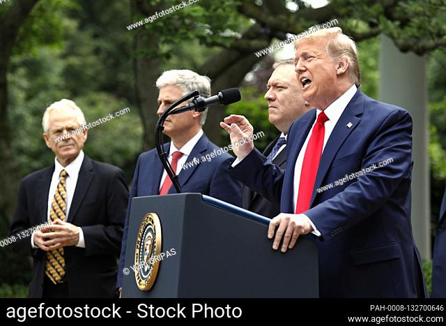 United States President Donald J. Trump delivers remarks on China in the Rose Garden at the White House in Washington, DC on May 29, 2020