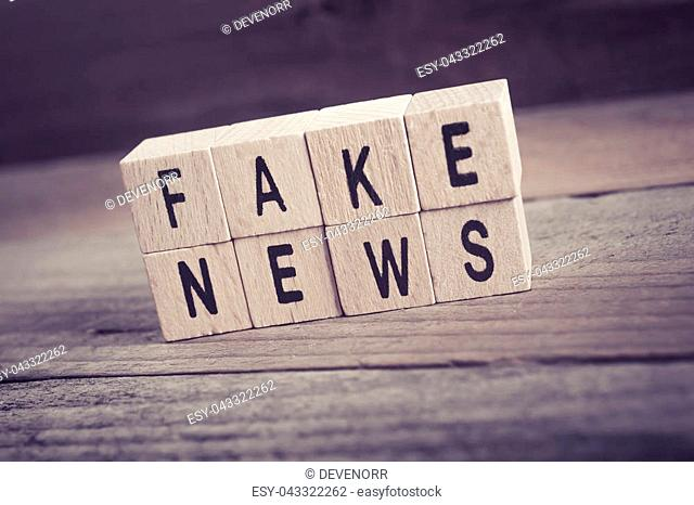 Macro Of The Words Fake News Formed By Wooden Blocks On A Wooden Floor