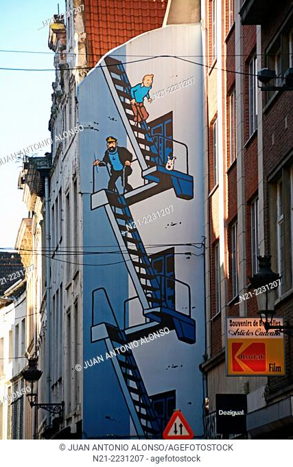 Herge's comic hero Tin Tin on a wall. Brussels, Belgium, Europe