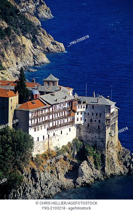 Osiou Gregoriou Monastery (c14th) Perched on Rocky Aegean Coast Mount Athos Greece