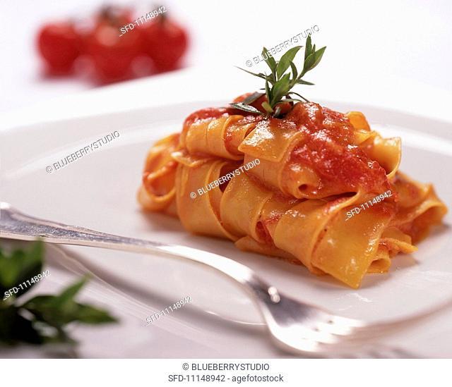 Tagliatelle al pomodoro ribbon pasta with tomato sauce