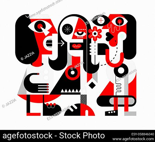 A woman gives a flower to her friend. A man nearby screams and shows aggression. Red, black and grey isolated on a white background Three People modern abstract...