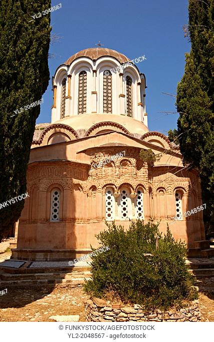 The Byzantine of Nea Moni built by Constantine IX and Empress Zoe after the miraculous appearance of an Icon of the Virgin Mary at the site and inaugurated in...