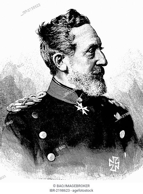 Leonhard Graf von Blumenthal, 1810 - 1900, a Prussian Field Marshal, historic wood engraving, about 1897