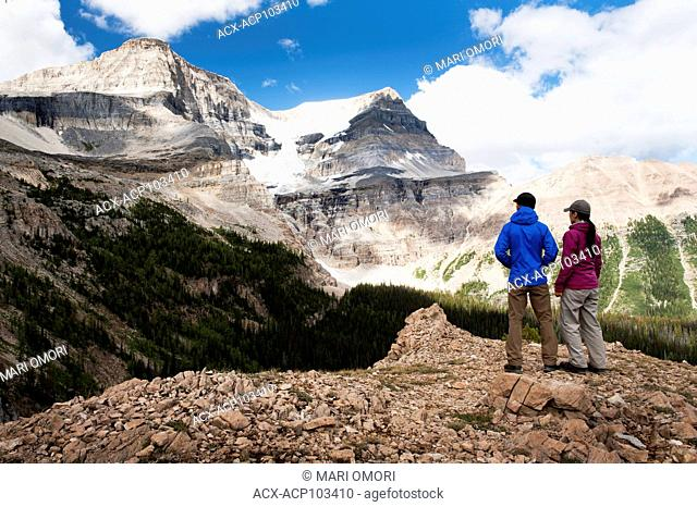 Hikers at Ball Pass in Kootenay National Park. Model Release signed