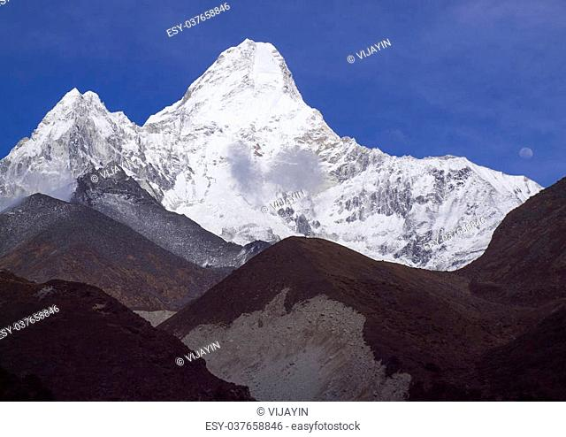 Ama Dablam and moon, Himalaya mountain