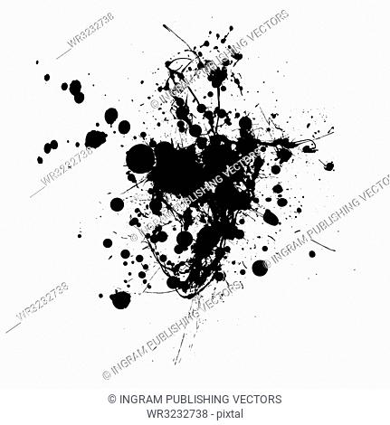 Inky black splat with abstract shape and room to add text