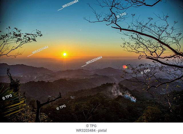 Beautiful Sunset landscape in Taichung Taiwan. Trail in the mountain