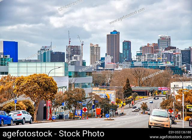 AUCKLAND, NEW ZEALAND - AUGUST 26, 2018: View of city center and traffic